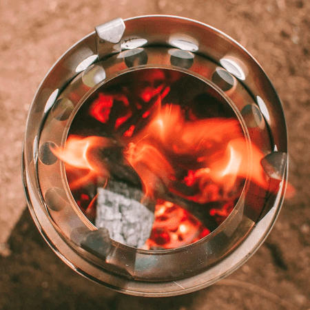 Fire In The Solo Titan Camping Stove