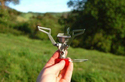Holding Small Camping Stove